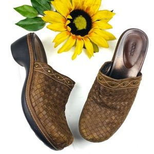ECCO Brown Woven Leather Mules Slip On Clog